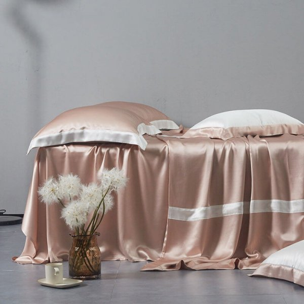 Pink 22 Momme Classic 4PCs Silk Flat Sheet Set