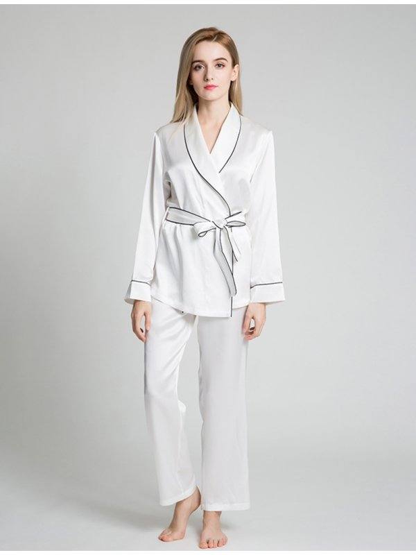 22 Momme Contrast Trim Silk Pajamas Set